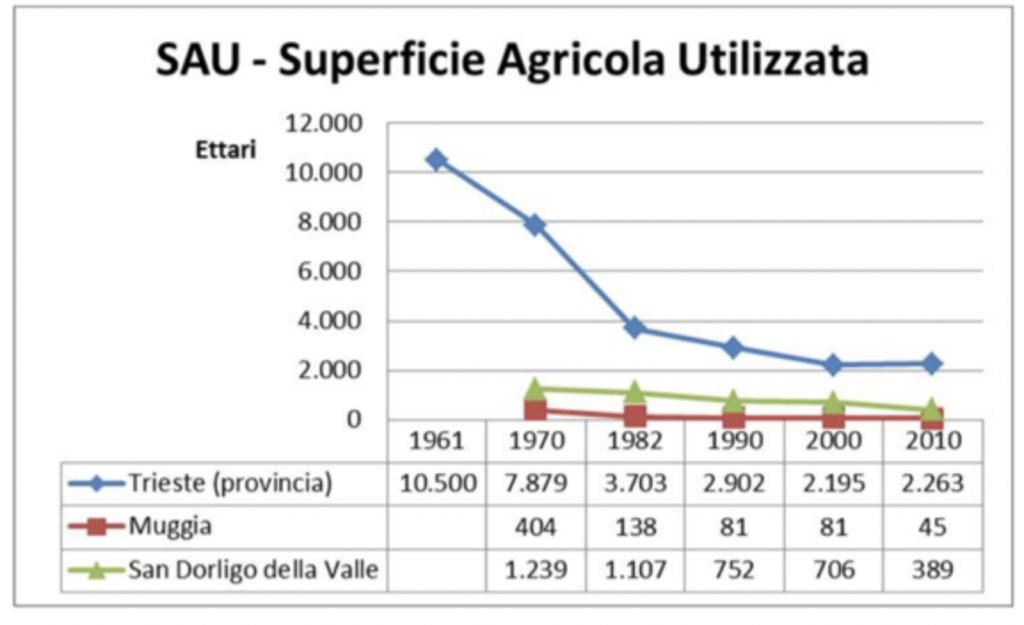 Superficie agricola in ex Provincia di Trieste